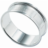 Silver Napkin Ring with Engine Turned Design