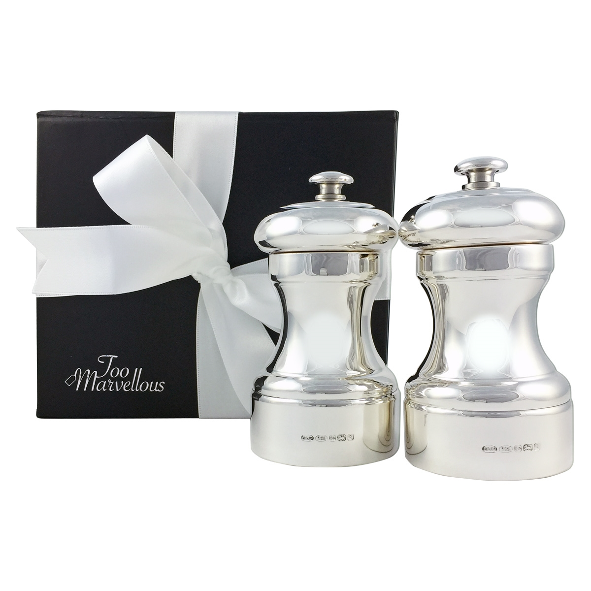 sterling silver salt  pepper mill with peugeot mechanism - hallmarked sterling silver salt  pepper mill with peugeot mechanism