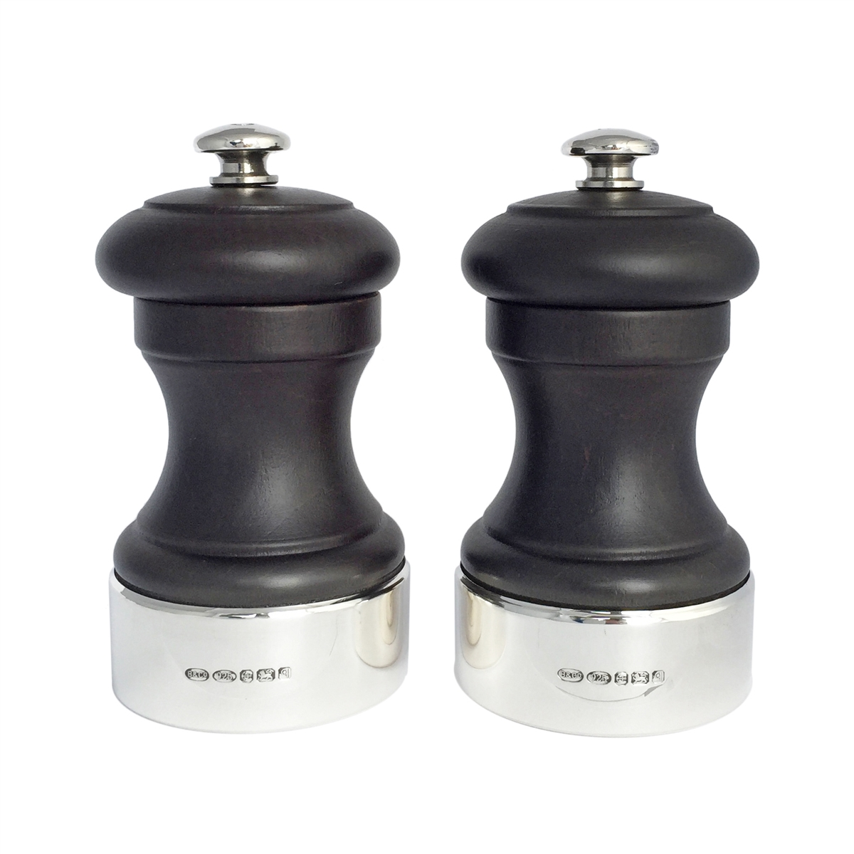 hallmarked silver and wood salt & pepper mill set with peugeot mechanism
