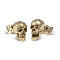 Skull Head Cufflinks - Gold Finish by Deakin & Francis