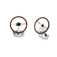 Sterling Silver Enamelled Vintage Steering Wheel Cufflinks by Deakin & Francis