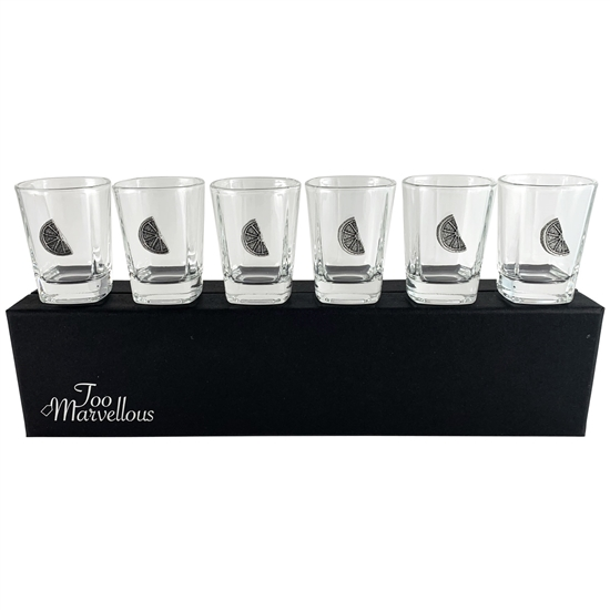 Set of Six Shot Glasses with English Pewter Lime Motif exclusive to Too Marvellous