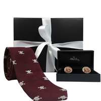 Skull & Crossbones Gentlemen's Burgundy Tie and Cufflinks Gift Set