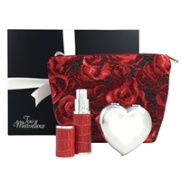 Hearts and Roses Makeup Bag, Compact Mirror and Refillable Atomiser Gift Set