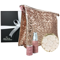 Rose Gold Sparkles Sequin Makeup Bag, Mirror and Atomiser Gift Set