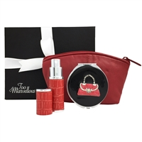Red Leather Makeup Bag, Mirror and Atomiser Gift Set