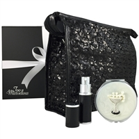 Black Sparkles Sequin Makeup Bag, Mirror and Atomiser Gift Set