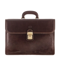 The London Two Pocket Classic Mens Leather Briefcase