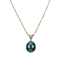 9ct Gold Diamond and Black Freshwater Pearl Pendant and Chain