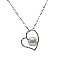 Sterling Silver Heart Pendant with Cultured Freshwater Pearl