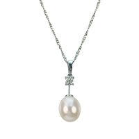 9ct White Gold Diamond and Black Freshwater Pearl Pendant and Chain