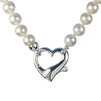 Fine AAA Grade Freshwater Pearl Necklet with Large Silver Heart Feature Clasp