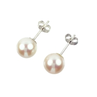 AAAA Grade Perfect Round White Freshwater Pearl Earring Studs with Sterling Silver