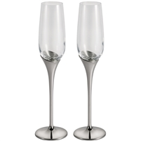 Pair Pewter & Glass Tall Champagne Flutes by Royal Selangor. Domaine Range. Gift Boxed