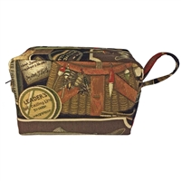 Gent's Fabric Toiletry Wash Bag with Fishing Design