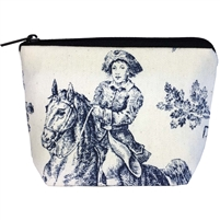 Small Tapestry Makeup Purse. Toile de Jouy Design with Zip