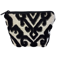 Small Tapestry Makeup Purse. Flock Design with Zip