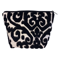 Medium Tapestry Style Makeup Bag with Two Pockets. Black Flock Design with Zip