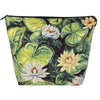 Large Tapestry Style Makeup & Toiletries Bag with Two Compartments. Water Lily Design with Zip
