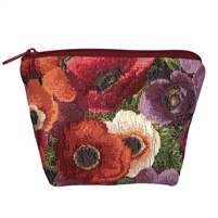 Small Tapestry Makeup Purse. Anemone Design with Zip