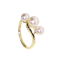 9ct Yellow Gold Three Stone Cultured Akoya Pearl dress Ring
