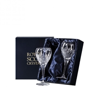Pair Edinburgh Lead Crystal Small Wine Glasses by Royal Scot Crystal