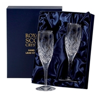 Pair Edinburgh Lead Crystal Champagne Flutes by Royal Scot Crystal