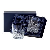 Pair Edinburgh Design Lead Crystal Large Whisky / Spirit Tumbler Glasses by Royal Scot Crystal