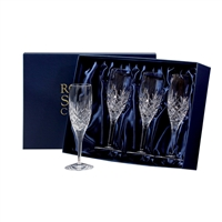 Four Edinburgh Lead Crystal Champagne Flutes by Royal Scot Crystal
