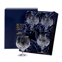 Four Edinburgh Lead Crystal Brandy Balloon Glasses by Royal Scot Crystal