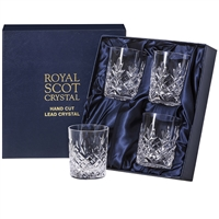 Four Edinburgh Design Lead Crystal Whisky Tumbler Glasses by Royal Scot Crystal