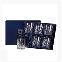 Boxed Six Crystal Scottish Thistle Small Whisky Glasses by Royal Scot Crystal