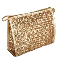 Gold Heavily Sequinned Sparkly Makeup Bag with Zip