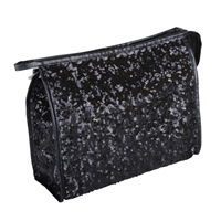 Black Heavily Sequinned Sparkly Makeup Bag with Zip