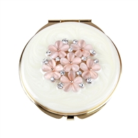 Compact Mirror with Swarovski Crystal with Pink Enamel Flowers