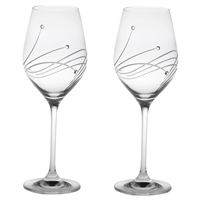Pair Diamante Lead Crystal Large Wine Glasses with Swarovski Crystal Detail by Royal Scot Crystal