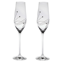 Pair Diamante Lead Crystal Champagne Flutes with Swarovski Crystal Detail by Royal Scot Crystal
