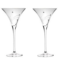 Pair Diamante Lead Crystal Cocktail Glasses with Swarovski Crystal Detail by Royal Scot Crystal