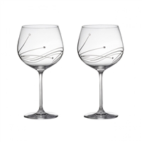 Pair Diamante Lead Crystal G & T Copa Glasses with Swarovski Crystal Detail by Royal Scot Crystal