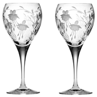 Pair Crystal Catherine Design White Wine Glasses by Royal Scot Crystal