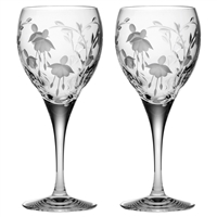 Pair Crystal Catherine Design Red Wine Glasses by Royal Scot Crystal