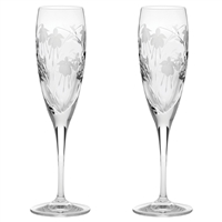 Pair Crystal Catherine Design Champagne Flutes by Royal Scot Crystal