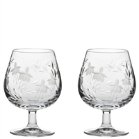 Pair Crystal Catherine Design Brandy Balloon Glasses by Royal Scot Crystal