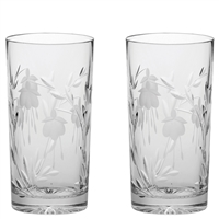 Pair Crystal Catherine Design Tall High Ball Tumbler Glasses by Royal Scot Crystal
