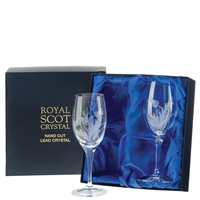 Boxed Pair Red Wine Glasses, Flower of Scotland Design by Royal Scot Crystal