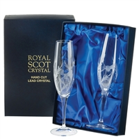 Boxed Pair Champagne Flute Glasses, Flower of Scotland Design by Royal Scot Crystal