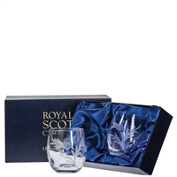 Boxed Pair Barrel Shaped Whisky Tumbler Glasses, Flower of Scotland Design by Royal Scot Crystal