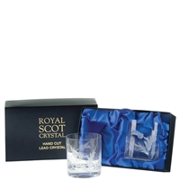 Boxed Pair Large Whisky Tumbler Glasses, Flower of Scotland Design by Royal Scot Crystal