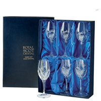 Boxed Set of Six Red Wine Glasses, Flower of Scotland Design by Royal Scot Crystal