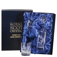 Crystal Spirit Decanter and Glasses Tot Set. Flower of Scotland Design by Royal Scot Crystal